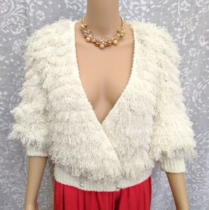 Vintage Fuzzy Fluffy Fringe Textured Sweater